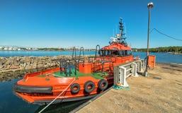 Swedish coastal boat Stock Photos