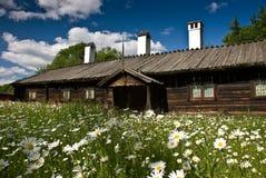 Swedish cottage. Historic house in Skansen museum, Stockholm stock image