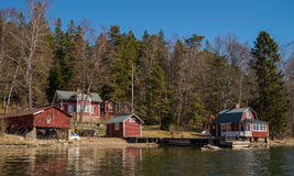 Swedish cottage near sea. Traditional Swedish cottages near Stockolm by the sea Stock Photography