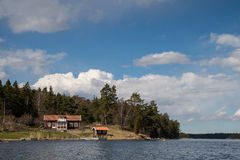 Swedish cottage near sea. Traditional Swedish cottages near Stockolm by the sea stock photo