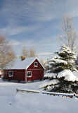 Swedish cottage in winter Royalty Free Stock Photo