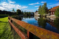 Falun, Sweden. Swedish cottages landscape in downtown of Falun stock photos
