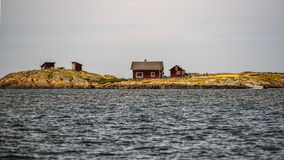 Swedish cottages off the Swedish coast in Varberg Stock Photos