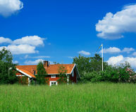 Swedish country-side view. A typical Swedish red wooden house surrounded by green fields. Sweet sommertime and still country-side life Stock Image