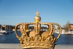 Swedish crown on a bridge. Crown on the Skeppsholm brdige stock image