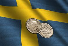 Swedish crowns on the flag. Abstract illustration Royalty Free Stock Image