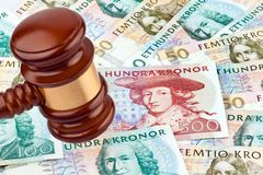 Swedish crowns. Swedish currency. Swedish krona, the currency of Sweden. Cost of law and justice Royalty Free Stock Photo