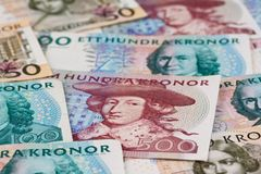 Swedish crowns. Swedish currency. Swedish krona, the currency of Sweden. Several bills Stock Photo