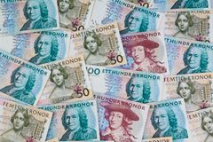 Swedish crowns. Swedish currency. Swedish krona, the currency of Sweden. Several bills Royalty Free Stock Images