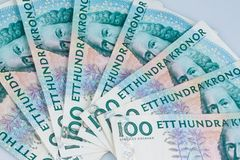 Swedish crowns. Swedish currency. Swedish krona, the currency of Sweden. Lie next to each other as subjects Stock Images