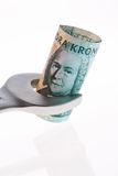 Swedish crowns. Swedish currency. Swedish krona, the currency of Sweden. With wrenches and tools Stock Photography