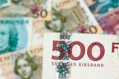 Swedish crowns. Swedish currency. Swedish krona, the currency of Sweden. Several bills Stock Images