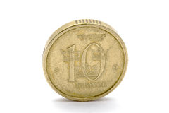 Swedish currency - 10 Kronor. Closeup on white background Stock Images