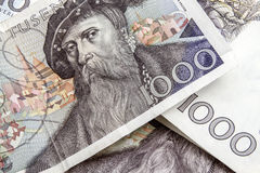 Swedish currency -1000 Kronor. Background of Swedish currency -1000 Kronor closeup Royalty Free Stock Photography