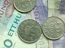 Swedish currency. Swedish crown coins and banknotes Royalty Free Stock Image