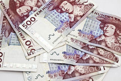 Swedish currency. Closeup on white background. 500 Kronor Stock Photography