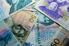Swedish currency. Different kinds of swedish bills Stock Images