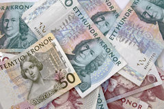 Swedish currency. Closeup on white background Stock Photography