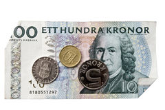 Swedish currency. And coins closeup Royalty Free Stock Images