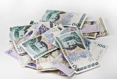 Swedish currency. A heap of swedish currency on white background Stock Image