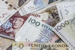 Swedish Currency. Background of different Swedish currency Stock Image