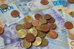 Swedish Currency, Crowns, Coins and bills stock images