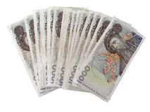 Swedish currency  - 1000 Kronor. Isolated on white Royalty Free Stock Photo