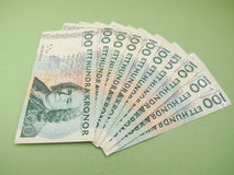 Swedish currency notes. Swedish currency SEK from Sweden over blue background Stock Photo