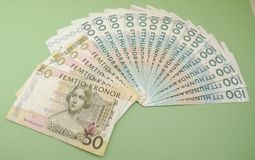 Swedish currency notes. Swedish currency SEK from Sweden over blue background Royalty Free Stock Photography