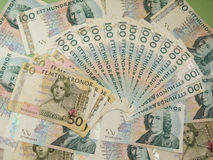 Swedish currency notes. Swedish currency SEK from Sweden over blue background Stock Images