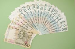 Swedish currency notes. Swedish currency SEK from Sweden over blue background Royalty Free Stock Photo