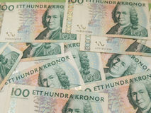 Swedish currency notes. Swedish currency SEK from Sweden over blue background Stock Photos