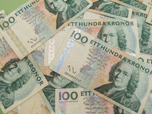 Swedish currency notes. Swedish currency SEK from Sweden over blue background Royalty Free Stock Photos