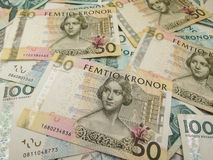 Swedish currency notes. Swedish currency SEK from Sweden over blue background Royalty Free Stock Images