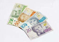 Swedish currency 20, 50, 100, 200 SEK, new layout 2016. Laying on a table Stock Photo
