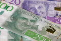 Swedish currency, 20 SEK and 200 SEK, new layout 2015 Royalty Free Stock Photography