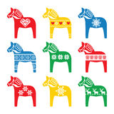 Swedish Dala, Dalecarlian horse with winter, Nordic pattern Royalty Free Stock Images