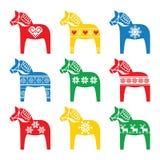 Swedish Dala, Dalecarlian horse with winter, Nordic pattern Royalty Free Stock Images