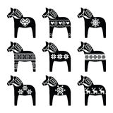 Swedish Dala, Dalecarlian horse with winter, Nordic pattern Stock Photos