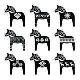 Swedish Dala, Dalecarlian horse with winter, Nordic pattern Stock Photos