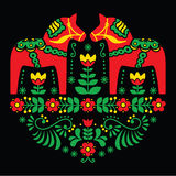 Swedish Dala or Daleclarian horse floral folk art pattern on black Royalty Free Stock Images