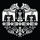 Swedish Dala or Daleclarian horse floral folk pattern on black Stock Photography