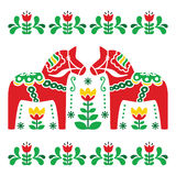 Swedish Dala or Daleclarian horse folk art pattern Stock Photography