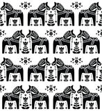 Swedish Dala or Daleclarian horse seamless folk art pattern Royalty Free Stock Photo
