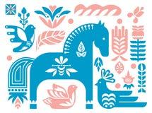 Swedish Dala horse pattern, Scandinavian seamless folk art design with flowers. Folk Dala horse pattern, Scandinavian seamless folk art design with flowers stock illustration