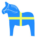 Swedish dala horse. Traditional carved, painted wooden horse statuette Royalty Free Stock Image