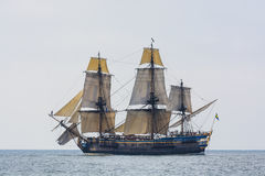 Swedish East Indiaman replica Götheborg. Gotheborg (Swedish old spelling: Götheborg) under sail in light breeze. Götheborg is a sailing replica of an 18th Stock Images