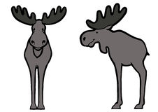 Swedish Elk. Cartoon character elk front view and side view Stock Photo