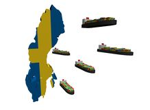 Swedish export with container ships Stock Photos