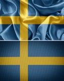 Swedish flag. Swedish fabric flags. fabric flag royalty free stock image